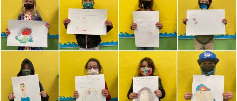 iLEAD Agua Dulce learners wearing masks and showing art